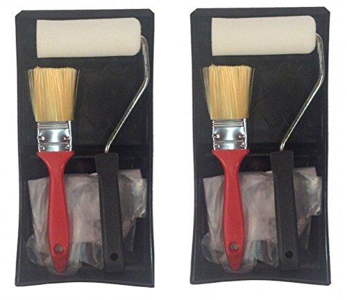 Set of 2 Paint Kits 5-Piece Set Tray Roller Foam Pad Brush P