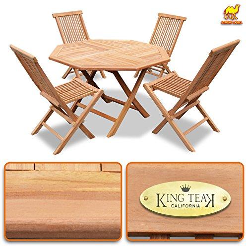 Teak Round One Table (King Teak 4 Piece Golden Teak Wood Folding Chairs & 1 Piece Folding Table Furniture Set Garden Dining Set)