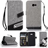for Samsung Galaxy A5 (2017) Leather Case [Color Block] GuluGuru Patch Work Folio Flip PU Leather Magnetic Wallet Case, Card Slot, Portable Sling, Stand Support