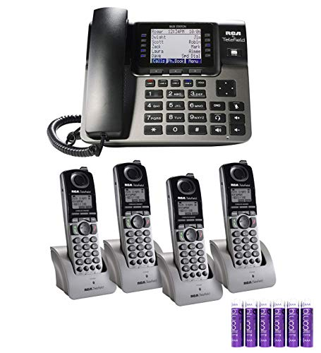 RCA U1000 Unison 4-Line Expandable Phone System - Full-Duplex Speakerphone Bundle with RCA U1200 DECT 6.0 Cordless Accessory Handsets (4-Pack) and 6 Blucoil AAA ()