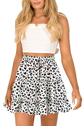 SimpleFun Womens Ruffle Floral Print or Polka Pot Mini Skirts with Bow (Leopard White, Medium)