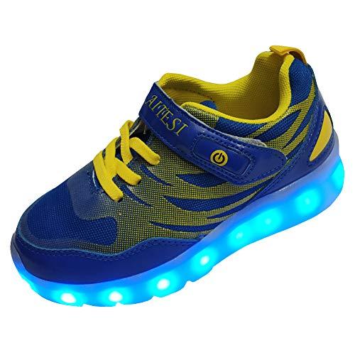 DAYATA Led Light Up Shoes for Kids Boys Girls Children's Fashion Luminous Sneakers (US 12.5, Blue)