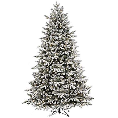 Kalwason 7ft Flocked Artificial Christmas Tree Snowy Spruce Unlit Xmas Tree Include Storage Bag, 51'...