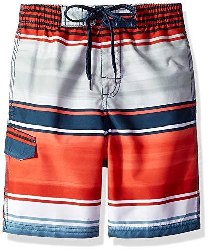 Kanu Surf Little Boys' Barracuda Quick Dry Beach Swim Trunk, Avalon Navy/Red, Large (7)