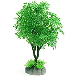 uxcell Green Plastic Tree Aquarium Fishbowl Waterscape Ornament Home Decor 6.1inch High