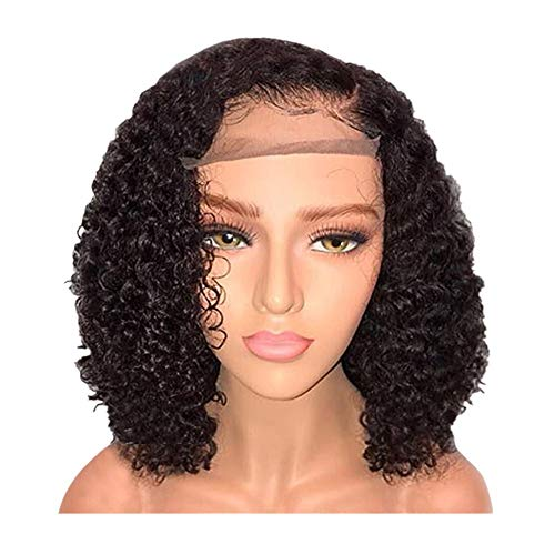 telaite Women Wigs Brazilian Less Lace Front Full Wig Bob Wave Black Natural Lace Chemical Fiber Short Curly Hair Wig ()