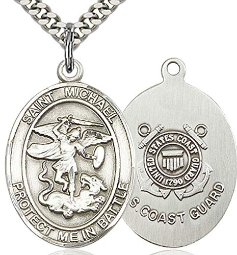 """Coast Guard Medal with St. Michael Protect Me In Battle, 3/4"""", Fine Pewter, 18"""" Light Rhodium Plate Clasp Chain"""