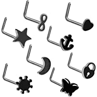 HQLA 8Pcs 20G Surgical Stainless Steel Nose Stud Rings L Shaped Piercing Jewelry