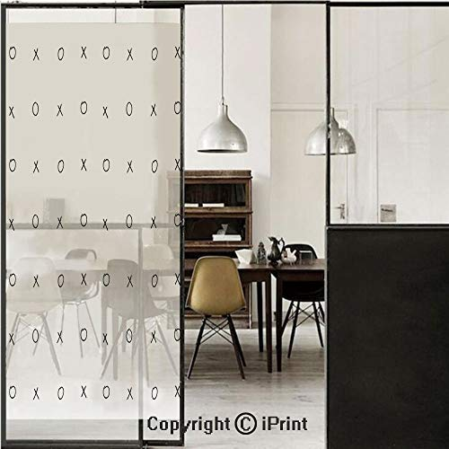 (Xo Decor 3D Decorative Film Privacy Window Film No Glue,Frosted Film Decorative,Hand Drawn Cross Zero Pattern Classic Game Tic Tac Toe in Black and White Colors,for Home&Office,17.7x70.8Inch Black Whi )