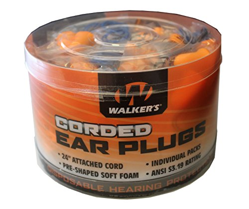 Walker's Corded Foam Ear Plugs Noise Reduction Rating 25Db/50 PK by Walker