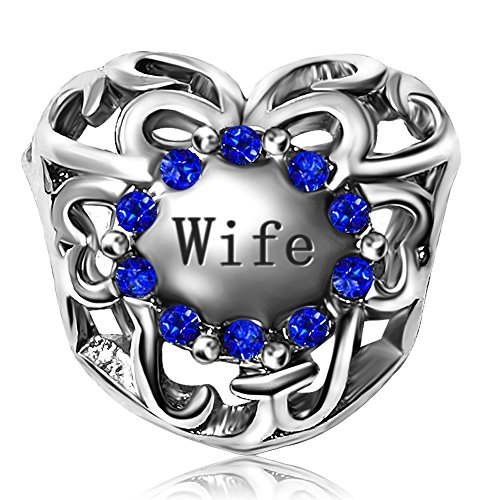 JMQJewelry Heart Love Birthstone Wife Forever September Blue Charm Crystal Rhinestone Charms Bead For Bracelets