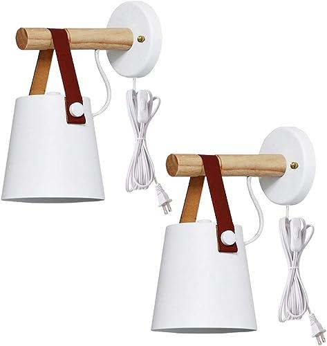 Kiven 2-Pack Iron Art Belt Wall Lamp UL Certification Plug-in Button Cord Lighting Round Bucket Loft Style Wall Lamp
