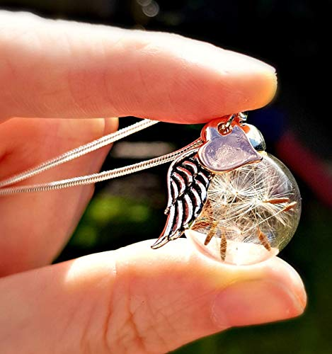Rose Gold Heart And Angel Wing Dandelion Necklace With Sterling