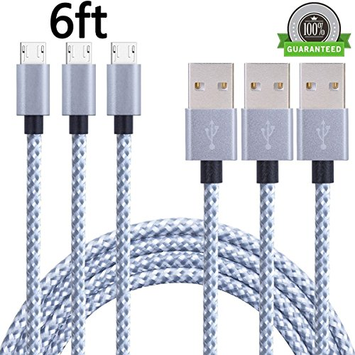 Price comparison product image SUMOON Android Charger Cable, 3Pack 10FT Extra Long Nylon Braided High Speed 2.0 USB to Micro USB Charging Cord Fast Charger Cable for Samsung Galaxy S7 / S6 / S5 / Edge, Note 5 / 4 / 3, HTC, LG, Nexus (6FT Silver)