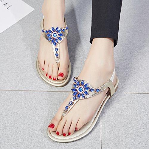 YE Damen Flache Ankle Strap Sandalen Zehentrenner mit Strass und Riemchen Bequem echt Leder Schuhe qq6puxQj