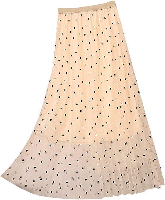VEMOW Vestido de Mujer Falda Plisada de Cintura Alta Vestido de ...