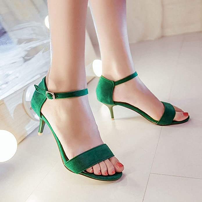 6bf1c6e02 Unm Women's Sexy Stiletto Medium Heeled Sandals Elegant Strappy Green: Buy  Online at Low Prices in India - Amazon.in