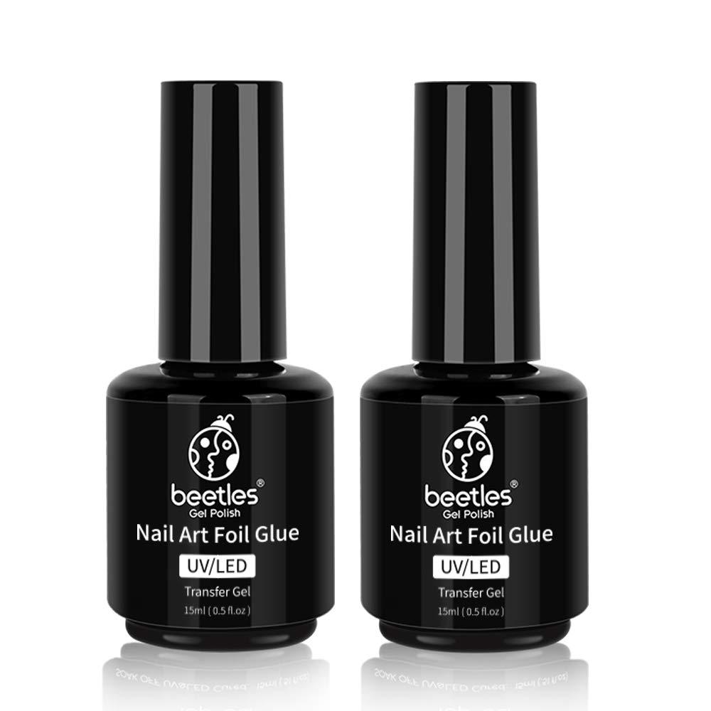 Beetles Nail Art Foil Glue Gel for Foil Stickers Nail Glue Transfer Tips Star Glues Nail Art Manicure DIY LED Lamp Required Soak Off 15ML 2 Bottle