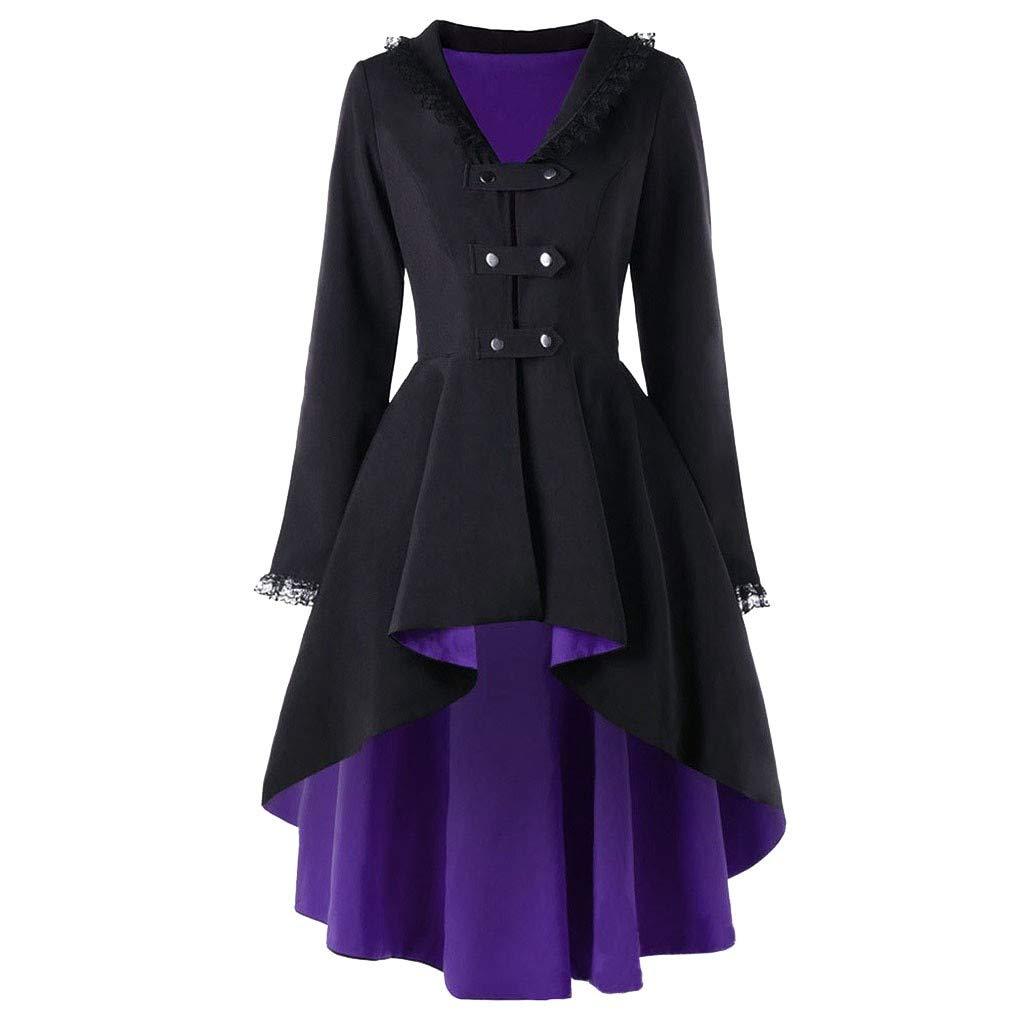 Women Gothic Casual Irregular Top Outwear Long Sleeve Lace Splice Formal Coat by BODOAO