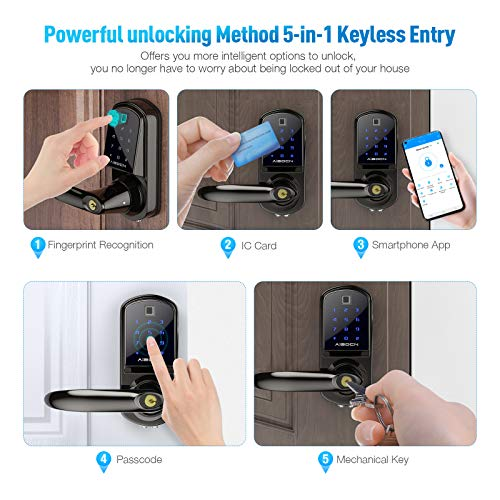 Aibocn Fingerprint Smart Lock, Keyless Entry Door Lock with Bluetooth, Touchscreen Keypad Deadbolt Lock with App Control, IC Card, Code, Easy to Install for Home Hotel Apartment, Left Handle