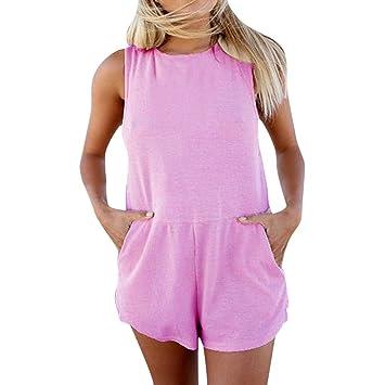 Wadonerful-Women Summer Rompers Holiday Mini Playsuit Sleeveless Print Jumpsuit Loose V-Neck Beach Shorts