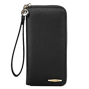 Clutch Wallet, COCASES RFID Protection Women Premium PU Leather Card Holder Coin Pocket Zipper Purse Handbag for 2 Cell Phones with Wrist Strap (Black)
