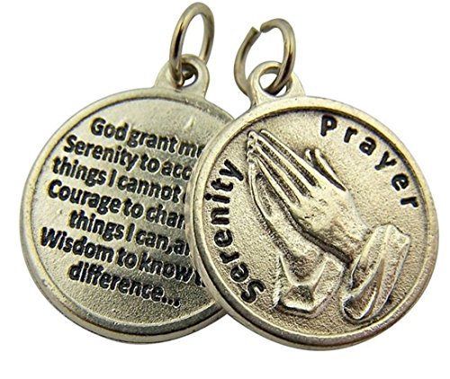 Religious Gifts Silver Toned Base Praying Hands Medal with Prayer Protection Pendant, 3/4 Inch