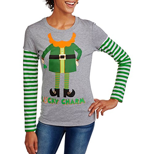 ST. Patricks Day Leprechaun T-Shirt Youth - Teenager Sizes. Long Sleeve Lucky Charm 2 fer Elf Clover Tee