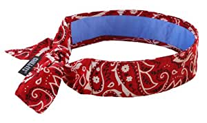 Ergodyne Chill-Its 6700CT Evaporative Cooling Bandana - Tie Closure, Red Western