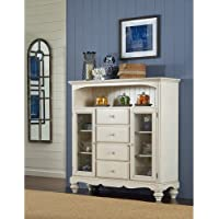 Hillsdale Furniture 5265-854 Pine Island 67.5 Bakers Cabinet with 4 Drawers 2 Glass Door Cabinets Open Shelf Pine Solids and Lumber Sides Construction in Old White