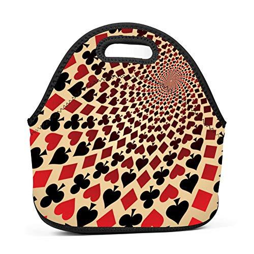 - Playing Cards Op Art Lunch Bag Insulated Reusable Neoprene School Picnic Lunch Box Waterproof Tote Bento Bag With Zippe Handbag For Men, Women, Adults, Kids, Girls, Boys