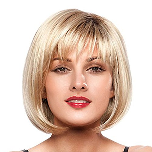 50's Style Costumes Australia (Topwigy Women's Human Hair Wigs Bob Short Cool Natural Mixed Human Hair Replacement Daily Wigs+ Wig Cap (Gold ))