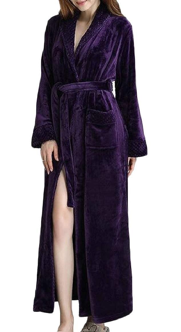 Purple pujinggeCA Women Soft Velvet Bathrobe Long Sleeves Sleepwear Loungewear