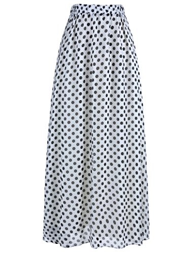 Dot Print Skirt (DRESSTELLS Women's Long Pleated Boho Floral Print Maxi Chiffon Vintage Beach Skirts White Black Dot L)