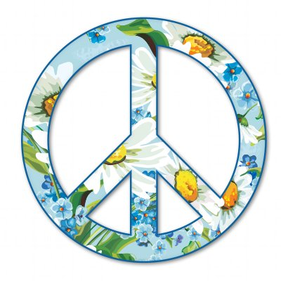 Peace Sign Flowers Daisies Vinyl Sticker - Hippie wall decor