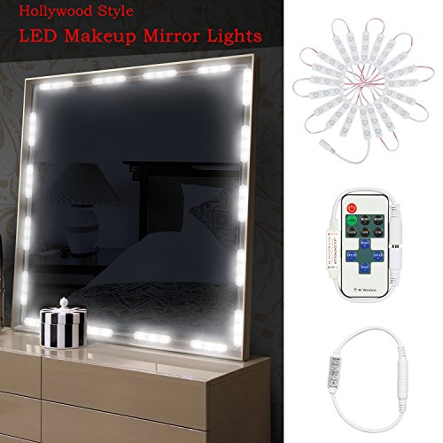 Dimmable Makeup Vanity Mirror Lights, IP65 Dim 60 LEDs 9.8FT DIY LED Make-up Light Kit 2800LM for Cosmetic Mirrors with Remote Control and Power Supply - 6000K, White
