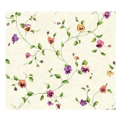 York Wallcoverings KH7016 Kitchen and Bath Pansy Trail Wallpaper, Beige/Purple/Butterscotch/Violet/Orange/Pink/Green