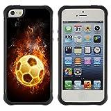 Kobe Diy Case Rugged hybrid Protection Impact Case Cover FOR iphone 5S CASE Cover ,iphone 5 5S case,iphone5S plus cover ,Cases for iphone 5 5S / Flaming Soccer Football Ball /