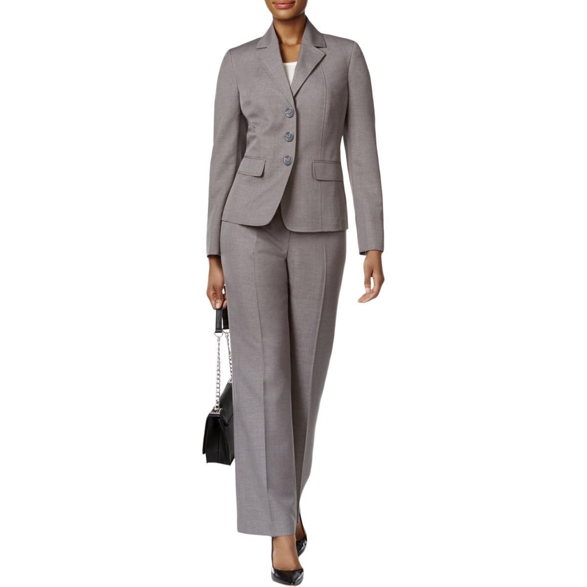 Le Suit Women's 3 Button Grey Pant Suit, Pearl, 18