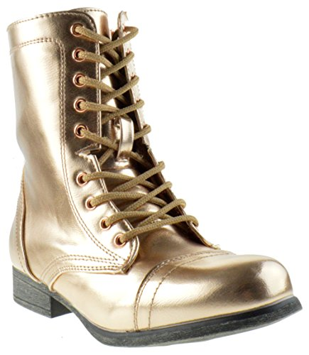 Bamboo Surprise 13 Womens Shine Metallic Lace Up Combat Boots Rose Gold (Bamboo Lace Up Boots)