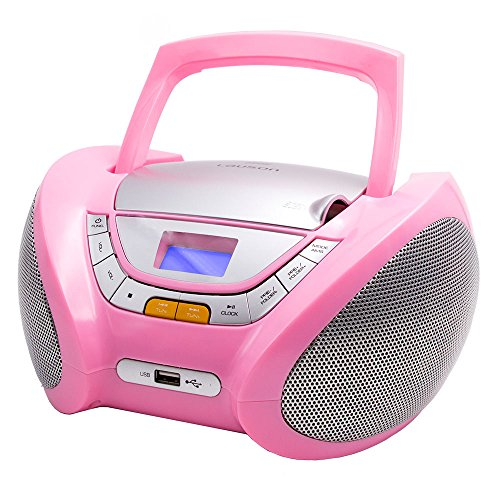 (Lauson Boombox with Cd Player Mp3 | Portable Radio CD-Player Stereo with USB | USB & MP3 Player | Headphone Jack (3.5mm) CP548 (Pink))