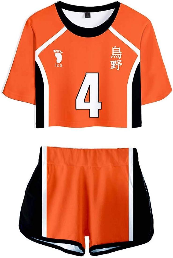 Flyself Unisexe Haikyuu T-Shirt /& Short Set Karasuno High School Volleyball Club Cosplay Costume Manches Courtes Crop Top /& Short 2 Pi/èces Ensembles V/êtements