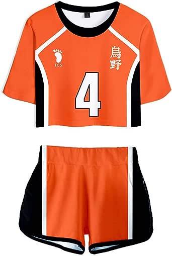 Flyself Unisex Haikyuu Crop Top and Shorts Set Cosplay Haikyuu Kozume Kenma Gakuen Koukou Costume Sports Suit High School Volleyball Uniform for Boys Girls