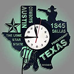 ZJYSM Western Cowboy Retro Fashion Wall Clock Texas Art Creative Clock Wall Chart LED Night Light Creative Living Room Stereo Clock Modern Lighting Wall Color Home Decoration Wall Clock