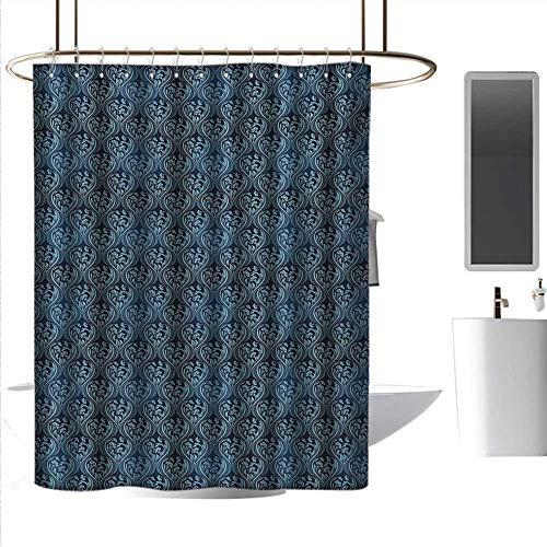 (coolteey Shower Curtains sea Victorian,Ornamental Renaissance Flourish with Venetian Design in Blue Shades,Dark Blue and Pale Blue,W108 x L72,Shower Curtain for clawfoot tub )