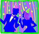 Celebration Party Dance - Vinyl Stained Glass Film, Static Cling Window Decal