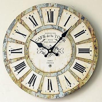 QUIETNESS @ Madera Reloj de pared vintage cuarzo grandes pared Watch Números Romanos estilo europeo moderno diseño Relojes de Pared, 13 in: Amazon.es: Hogar