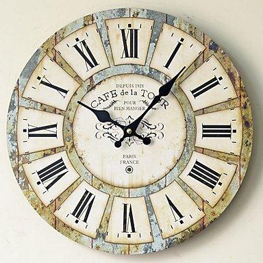 QUIETNESS @ Madera Reloj de pared vintage cuarzo grandes pared Watch Números Romanos estilo europeo moderno