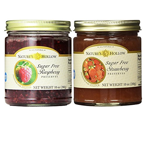 Nature's Hollow, Sugar-Free Jam Preserves Variety Pack - Strawberry and Raspberry 2-Pack, 10 Ounces Each ()