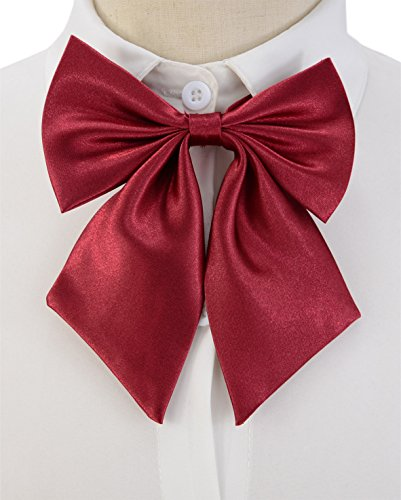 SYAYA Ladies girl Party Adjustable Pre-tied womens Bow Tie Solid Color Bowties for Women ties WLJ06 (dark (Best Wig With Bows)